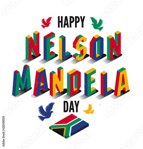 Vector illustration for happy International Nelson Mandela Day. Poster Mural XXL