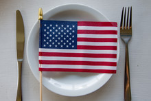 American Flag Lying On A Plate...