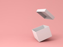 Blank White Open Cardboard Box Isolated On Pink Pastel Color Background With Shadow 3D Rendering