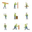 Wood carpenter icon set. Cartoon set of 9 wood carpenter vector icons for web design isolated on white background