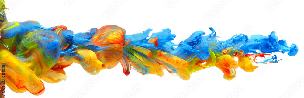 Fototapeta Rainbow of colorful paints and inks swirling together in flowing water abstract background