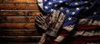 canvas print picture - Old and worn work gloves on large American flag - Labor day background