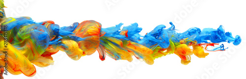 Fényképezés Rainbow of colorful paints and inks swirling together in flowing water abstract