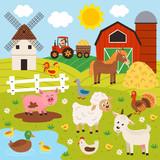 farmer and happy animal farm - vector illustration, eps