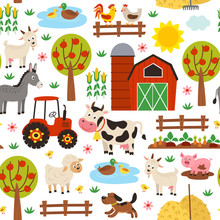 Seamless Pattern With Farm Ani...