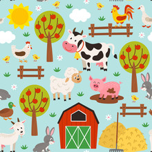 Seamless Pattern With Pets In ...