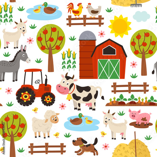 seamless pattern with farm animals on white background - vector illustration, eps     Fototapete