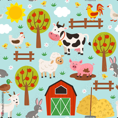 seamless pattern with pets in the barnyard  - vector illustration, eps Wallpaper Mural