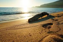 Sand Beach With Amazing Sunset