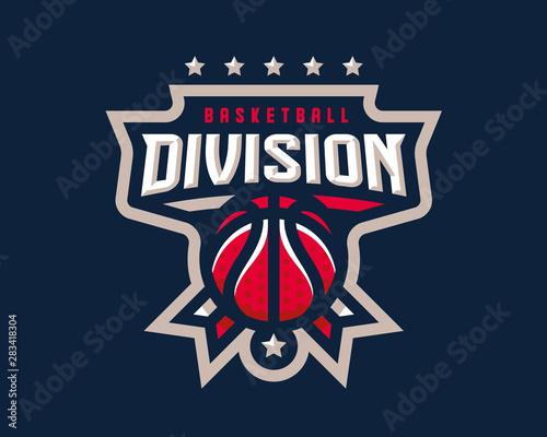 Vászonkép Basketball logo design, emblem tournament template editable for your design
