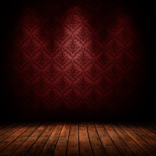 Dark Interior Room With Baroque Red Wallpaper