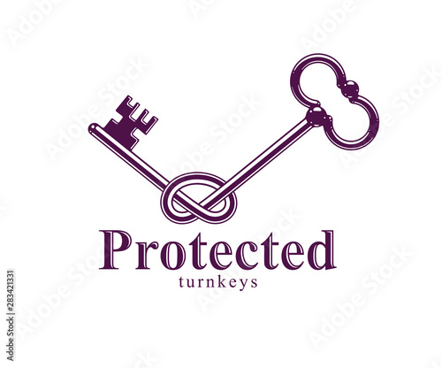 Fotografia, Obraz  Knotted key allegorical symbol of keep secret, vintage antique turnkey in a knot, defense and security concept, password personal data protection, vector logo