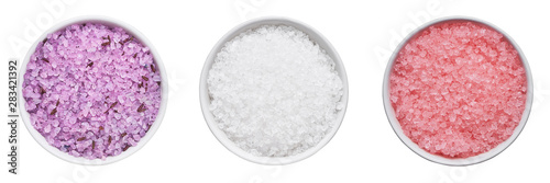 Poster Spa SPA concept. Set of bath salt in bowl isolated over white background with clipping path. Top view