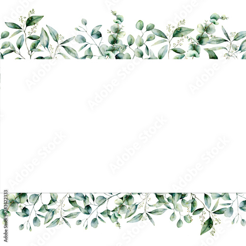 Watercolor eucalyptus seamless banner. Hand painted eucalyptus branch and leaves isolated on white background. Floral illustration for design, print, fabric or background. Wall mural