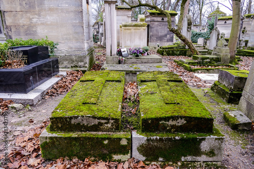 Cimetiere du Pere Lachaise typical french cemetery, Photo image a Beautiful pano Canvas Print