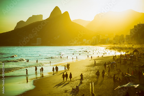 Scenic sunset view of Ipanema Beach on a busy summer afternoon in Rio de Janeiro Wallpaper Mural