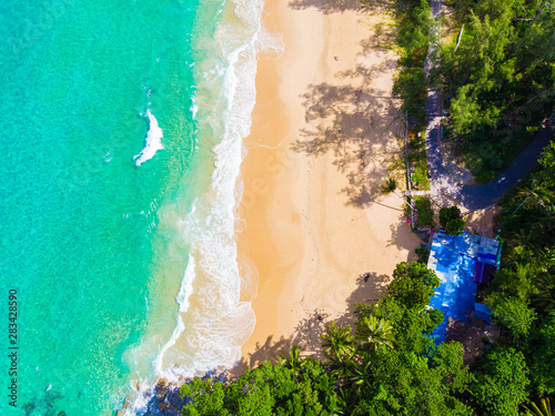 Poster Vert corail Sea beach azure water with coconut palm tree aerial view
