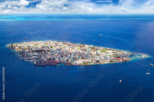 Aerial View On Male The Capital City Of Maldives