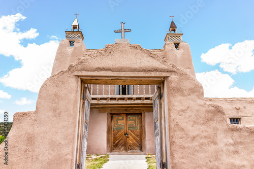Las Trampas Famous San Jose de Gracia church on High Road to Taos village with historic vintage building in New Mexico