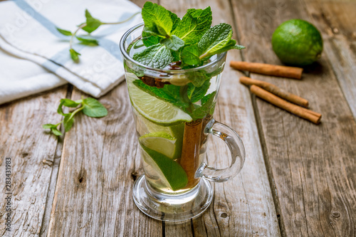 Moroccan tea with mint and cinnamon and lime