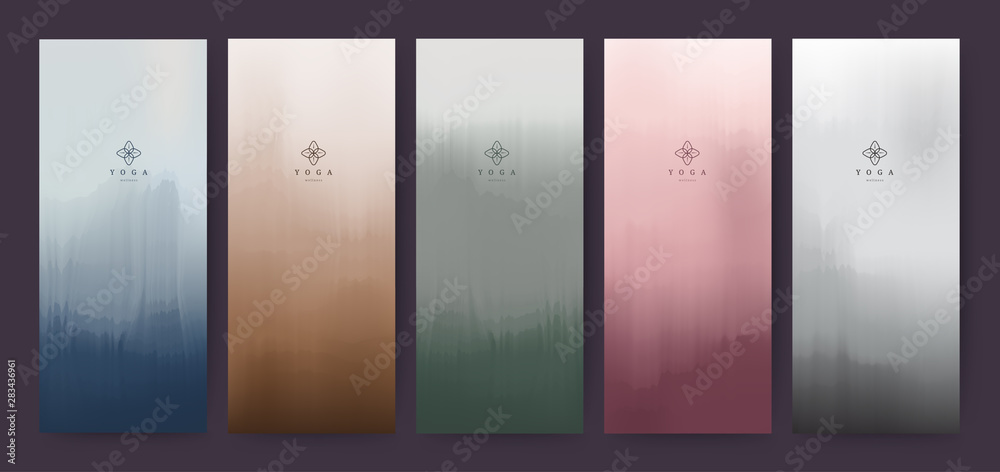 Fototapety, obrazy: Branding Packaging brush abstract background, logo banner voucher, watercolor green red purple violet fabric pattern. vector illustration.