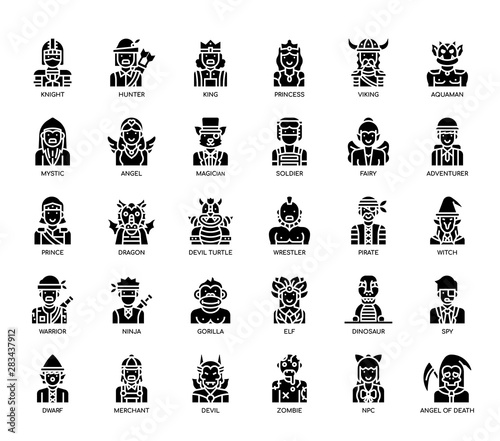 Fotografie, Obraz  Game Characters , Glyph Icons