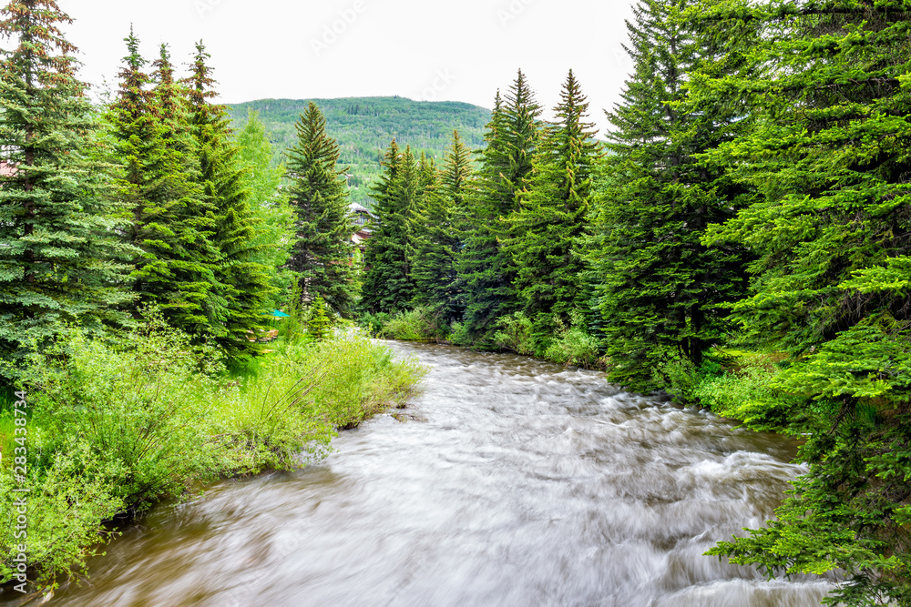 Fototapety, obrazy: Vail resort town in Colorado with long exposure of Gore creek river and pine trees