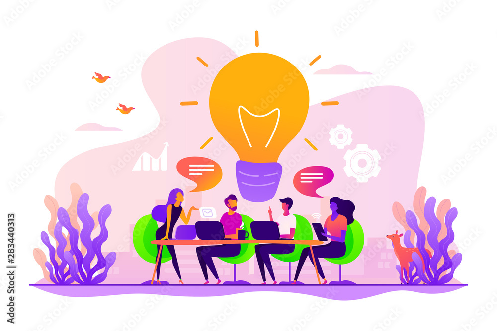 Fototapeta Sharing thoughts, ideas, teamwork in company. Colleagues working on project. Start up launching, business success, brainstorm meeting concept. Vector isolated concept creative illustration