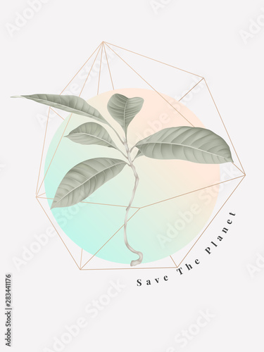 Botanical typographic poster, dragonfly, small tree with save the planet letteri Fototapeta