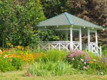 A Beautiful White Gazebo In A ...