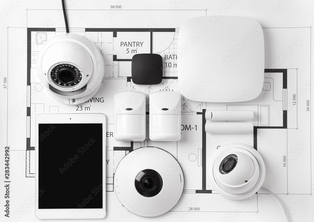Fototapety, obrazy: Different equipment of security system on home plan