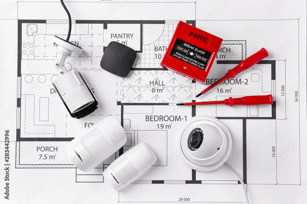 Fototapeta Different equipment of security system on home plan
