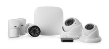 Different Equipment Of Security System On White Background