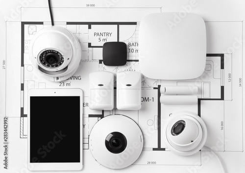 Fotografia Different equipment of security system on home plan
