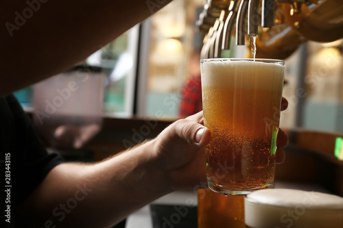 Fotografía  Barman pouring fresh beer in glass, closeup