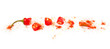 Red cut chili pepper on white background