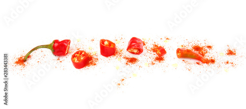 Wall Murals Fresh vegetables Red cut chili pepper on white background