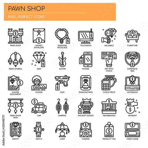 Fototapeta Pawn Shop , Thin Line and Pixel Perfect Icons