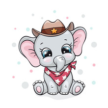 Elephant, Baby Cute Print. Sweet Tiny Cowboy With Hat And Scarf. Cool African Animal Illustration