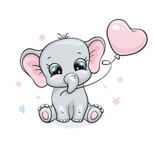 Elephant, Baby Cute Print. Swe...
