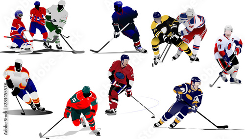 Slika na platnu Ice hockey players. Colored Vector illustration for designers