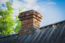 Old Red Brick Chimney On The R...