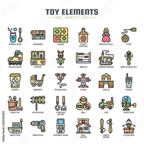 Photo Toy Elements , Thin Line and Pixel Perfect Icons