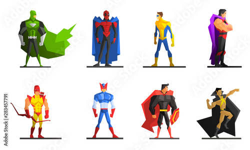 Fotomural  Superheroes Set, Different Male Superhero Characters in Colorful Costumes Vector