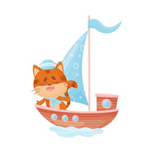 Cute Cat Is Floating In A Boat With A Light Blue Sail. Vector Illustration On White Background.