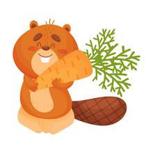 Cartoon Beaver With Carrots. V...