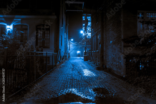 Dark and scary vintage cobblestone brick city alley at night in Chicago Wallpaper Mural