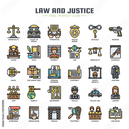 Law and Justice , Thin Line and Pixel Perfect Icons Fototapet