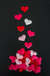 Hearts On Black Background - Valentines Day Concept