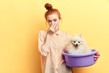 Ginger Girl In Gloves And Stiped Shirt Touching Her Nose, She Has Found A Stray Dog And Wants To Wash It. Closeup Portrait. Wellness And Wellbeing Of Pets. Cleanliness Concept